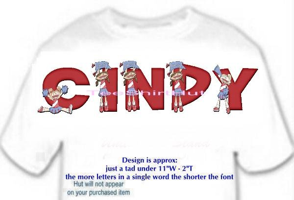 T-shirt - Your Name in CHEERLEADER, banner, HOORAY - (Adult 4xLg - 5xLg)