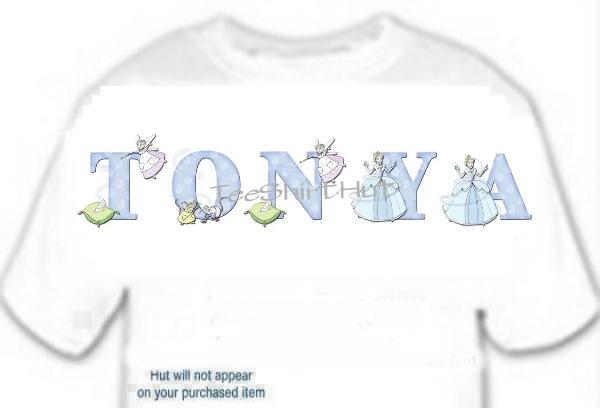 T-shirt, Your Name in CINDERELLA, slipper, pillow - (youth & Adult Sm - xLg)