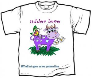 T-Shirt, UDDER LOVE, purple cow #1 - (Adult 3xLg)