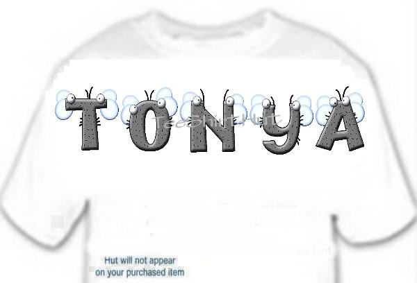 T-shirt, Your Name in FLIES, bugs - (Adult 4xLg - 5xLg)