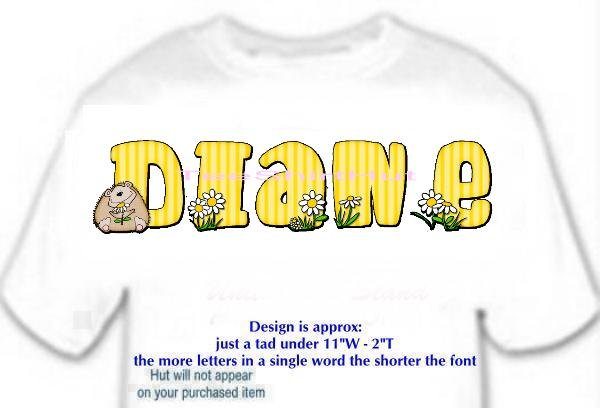 T-shirt, Your NAME in HEDGEHOG, smell the daisies - (Adult 3xlg)
