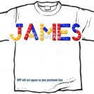 T-shirt, Your Name in LEGGOS, blue, red, yellow - (youth & Adult Sm - xLg)