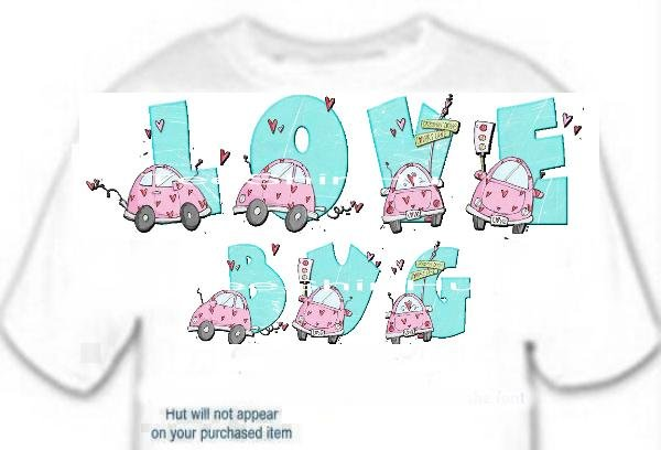 T-shirt YOUR NAME in LOVE BUGS pink, hearts lovers lane - (youth & Adult Sm - xLg)