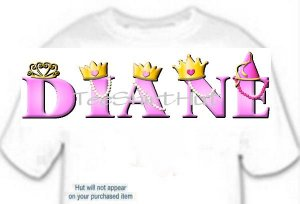 T-shirt Your Name in PRINCESS crowns - (adult 3xlg)