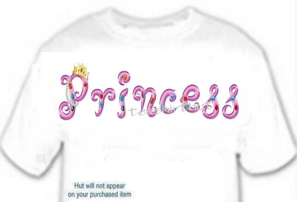 T-shirt Your Name in PRINCESS Jewels - (adult Xxlg)