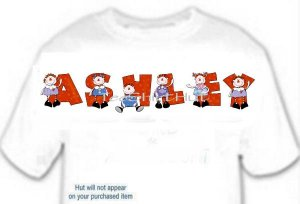 T-shirt, Your Name in  RAGGEDY DOLL - (youth & Adult Sm - xLg)