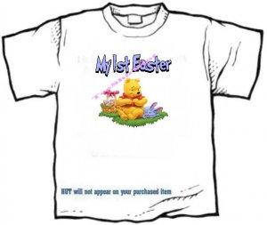 T-shirt , MY 1st EASTER, colored eggs, rabbit - (youth & Adult Sm - xLg), personalize w/any 1st name