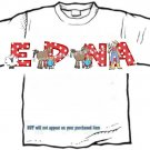 T-shirt, Your Name in DOWN ON THE RANCH, chickens, cowboy, horses - (adult 3xlg)