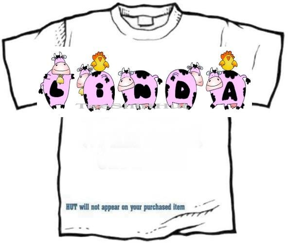 T-shirt, Your Name in PINK HAPPY HEIFERS, pinks cows, chickens - (adult Xxlg)