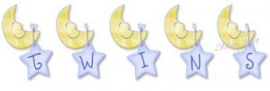 TWINS, Moons and Stars, -- MATERNITY shirt, (2xLarge or 3xLarge)