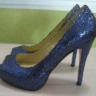 Navy blue peep toe glitter pump