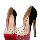 Red and black Platform Rivet Peep toe