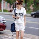 Fashion Women Cotton Sports suits,2pcs/set Casual T shirt+shorts,Ladies Leisure