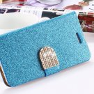 Luxury Shiny Diamond Full PU Leather Case For Iphone 5 5s Cover With Safe Buckle
