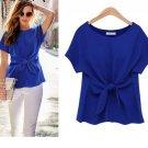 women Bowknot blouses O-neck short sleeve shirts chiffon casual