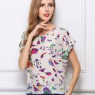 Print O-Neck Tropical Chiffon Women Blouses Short Batwing Sleeve