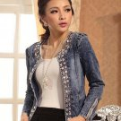 omen Style Vintage Casual Slim Short Jeans Coat Jacket Diamonds