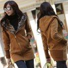adies New Leopard Printing Coat Jacket Zipper Up Hooded Outerwear Cardigan