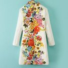 Women Elegant Trench Coat Positioning Flower Prints Jacquard Outwear