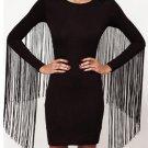 Women Fringe Tassel Long Sleeve Slim Fit Bodycon Dress
