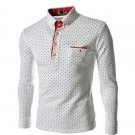 Polka Dot Male Slim Fit Cotton Mens Dress Shirts Casual Shirt