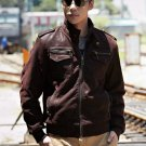 New Cowhide Leisure motorcycle leather jacket-Large Size