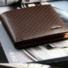 Men Genuine Leather Plaid Wallet Pocket Wallets