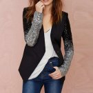 Women Blazer Suit Long Sleeve Lapel Silver Black Elegant Trench Coat Medium Size