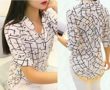 Women 3/4 Sleeve Print Chiffon Shirts Fashion Slim Blouses Shirts Medium Size