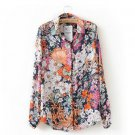 Women Floral Print Shirt Long Sleeve Fashion Chiffon Blouse Tops All Sizes