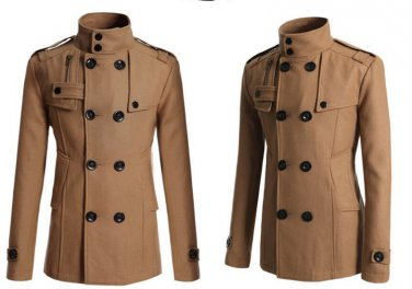Men Trench Double Breasted solid slim cotton Coats