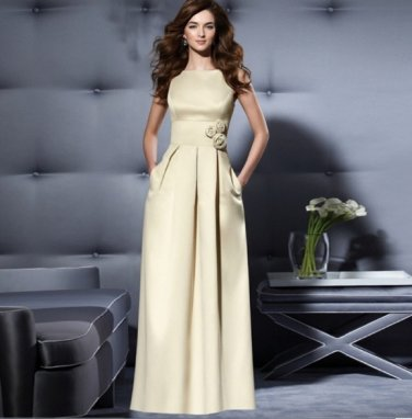 High Class Casual Style Floor Length Open Back Dresses/Sizes Available
