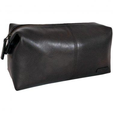 Hidesign Charles Travel/Toilet Kit with Waterproof Interior Black