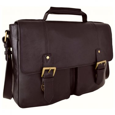 "Hidesign Charles Medium 15"" Laptop Compatible Briefcase Brown"