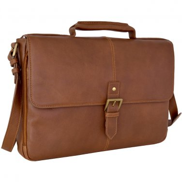 "Hidesign Charles Medium 15"" Laptop Compatible Briefcase Tan"