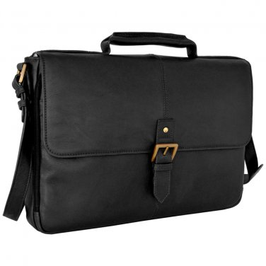 "Hidesign Charles Medium 15"" Laptop Compatible Briefcase Black"
