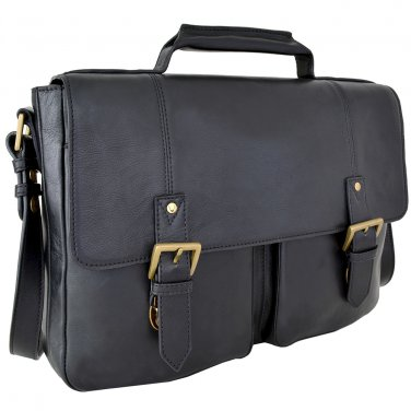 "Hidesign Charles Medium 15"" Laptop Compatible Briefcase Black"