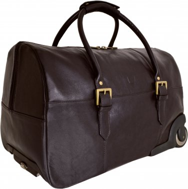 Hidesign Charles Cabin Sized Leather Wheeled Luggage Brown