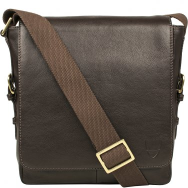 Hidesign William Vertical Leather Messenger Brown