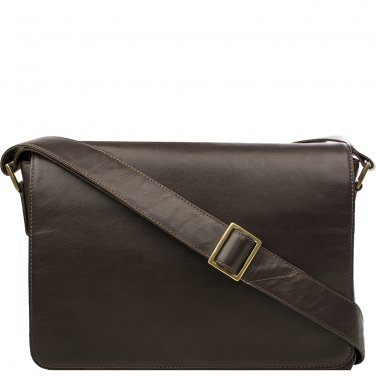 Hidesign Small Rhoden Leather Messenger Brown