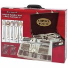 NICE! STERLINGCRAFT 72 PIECE GOLD TRIM FLATWARE SET in heavy-duty storage case