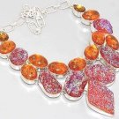 NICE! HUGE Titanium Druzy Amber Citrine 925 Silver CLUSTER Necklace 40cm Jewelry