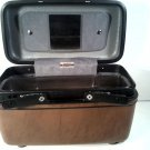 VINTAGE TRAIN LUGGAGE PIECE BROWN MIRROR AND TRAY FREE SHIPPING!