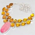 NICE LARGE Pink Lace Onyx Lemon Citrine 925 Silver CLUSTER Necklace 42cm