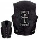 LEATHER VEST CHRISTIAN JESUS PATCH-2X FREE SHIPPING!