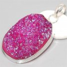 Brilliant Titanium Druzy 925 Silver Pendant 50mm Gemstone Jewelry FREE SHIPPING!