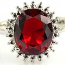NICE! Gemstone Blood Ruby 12x10 mm  Silver Ring US SIZE 6.0 FREE SHIPPING!