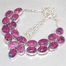 Huge Mosaic Jasper, Silver CLUSTER Necklace 41cm Gemstone FREE SHIPPING!