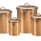 Set 4 Decor Copper Hammered Canisters 4Qt/2Qt/1.5Qt/1Qt FREE SHIPPING!
