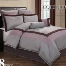 12 pc Luxury Bedding Set- Hotel Plum/Grey/Lavender FREE SHIPPING!